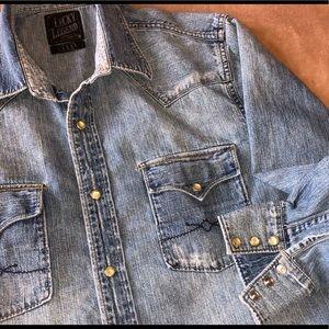 Lucky Brand Shirts - LUCKY BRAND DISTRESSED WESTERN SHIRT